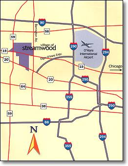 Streamwood is conveniently located with easy access to major roadways and O'Hare Airport.